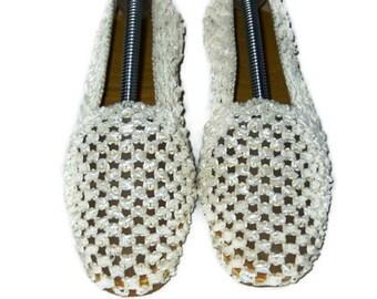 60s Flat Slippers Crochet Raffia Slippers Cork Sole Slippers 1960s Dance Slippers Cream Flats Woven Raffia Cork Sole Shoe Flat Ivory Shoe