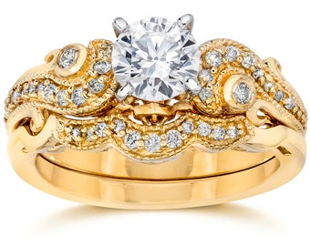 Emery 3/4Ct Vintage Diamond Engagement Wedding Ring Set 14K Yellow Gold