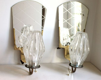 Rare French Pair of 1950s Sconce s/ Wall Lights  with Mirrors. Aged Brass, Glass.