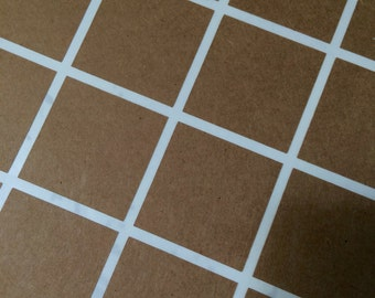 Square Stickers Choose Size and Color - Kraft White Gold Foil or Silver Foil