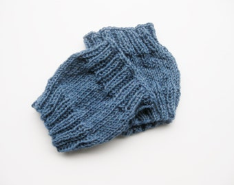 Wool boot cuffs blue denim hand knitted