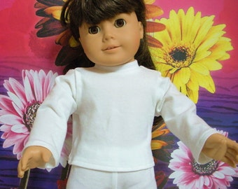 Fits 18 Inch American Girl Doll .... White Long Sleeve T-Shirt ... D232