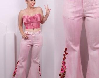 Vintage 1970's Bubblegum Pink Denim Bell Bottoms• 70's Floral Embroiderd Pink Wide Leg Pants • Size S/M