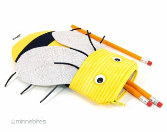 Honey Bee Pencil Case by MinneBites / Handmade School Kit - Beekeepr Gift - Cute Kids Purse - Bee Party Favor - Sunglass Bag - Pencil Pouch