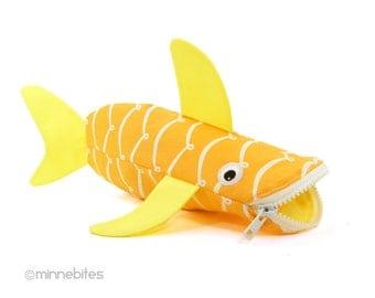 Shark Case by MinneBites / Office Organizer - School Bag - Yellow Pencil Holder - Nautical Desk Accessory - Shark Pencil Case - Ready Ship