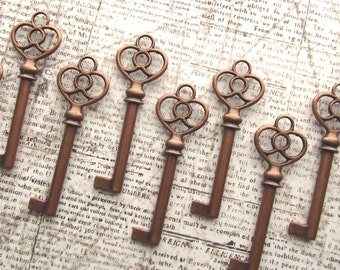 Grosmont Antique Copper Skeleton Key - Set of 10