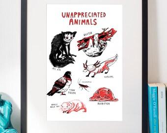 Unappreciated Animals Red and Black A3 riso print