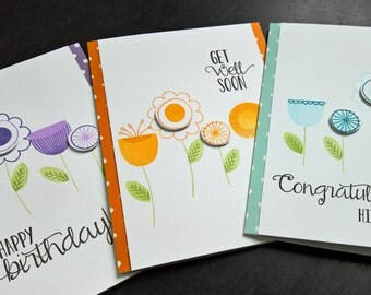 Card Set of 3, Birthday Card, Get Well Card, Congratulations Card, Scandinavian Print, Modern Floral Cards Set
