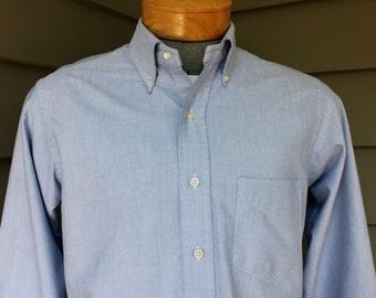 vintage 1970's -Gant- OCBD long sleeve shirt. Button down collar, locker loop, split yoke. 'Super Oxford' - Blue. 16 x 32