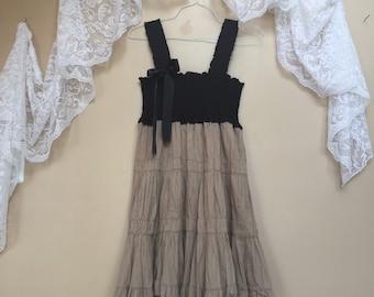 Upcycled Shabby Boho Chic Tank Dress ,