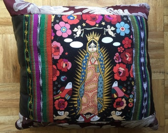 Our Lady Of Guadalupe Pillow - Black and Red Floral - Icon - Angels