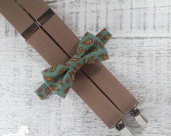 Boy Suspender Bow Tie Set - Teal Paisley Bow Tie - Tan Suspenders - Wedding Accessory