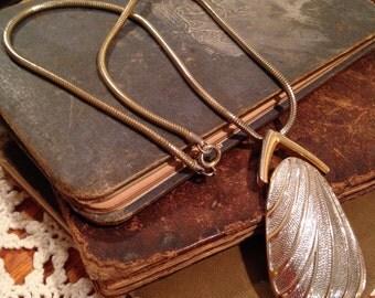 Retro Gold Tone and Silver Tone Pendant Necklace