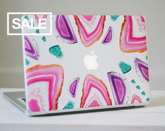 Agate Crystal MacBook Skin - Genuine Pink, Purple and Turquoise Agate Crystal Vinyl Laptop Skin