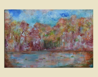 Original Large Painting Colorful Abstract Landscape Art