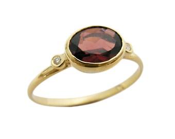 Garnet gold ring. diamonds gold ring. 14k yellow gold Garnet ring. Garnet jewelry, romantic gift, birthday gift, gold ring (r535-100gr)