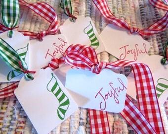 Christmas Tags  Gingham  Set of 8