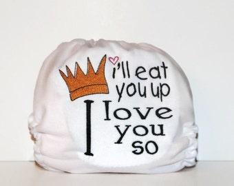 I'll Eat You Up Embroidered One Size Pocket Cloth Diaper, Reusable Cloth Diaper, One Size Cloth Nappy, One Size Diaper Cover, Diaper Cover