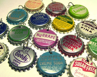 16 Very Vintage Pre-Drilled Pop Bottle Cap Charms - Soda Assortment Some Pairs - Some Cork 50s-60s