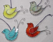 Stained Glass Suncatcher - Bird Ornament, Pick a Color