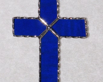 Stained Glass Suncatcher - Crucifix, Cross, Christmas Holiday Gift, Pick Your Color