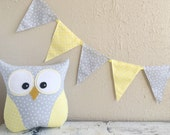 PENNANT BANNER in Yellow and Gray Polka Dot