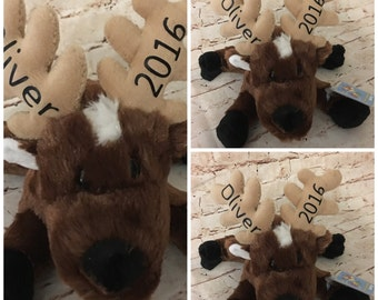Personalized Reindeer - Christmas Reindeer - Christmas Gift - Christmas Tag - Christmas Plushie - Stocking Stuffer - Stuffed Animal