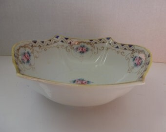 Antique Hand Painted Porcelain Bowl Delicate Roses and Cobalt Blue and Gold Bowl