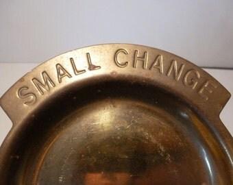Brass Small Change Tray Trinket Dish Vintage Brass 1970s Change Holder