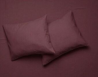 Bed sheet set Eggplant color King size linen sheets Queen bed sheets Twin sheets set Full size natural bedding