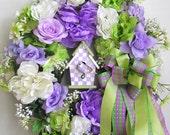 Spring Wreath, Easter Wreath, Spring Bird House Wreath, Purple Spring Wreath, Valentine Wreath, Mother's Day Wreath