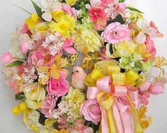Summer Wreath, Bird Wreath,  Pastel Wreath, Door Wreath, Flower Door Wreath, All Year Round Wreath