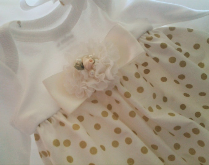 Infant girl Ivory polka dot Take me home gown and matching hairband