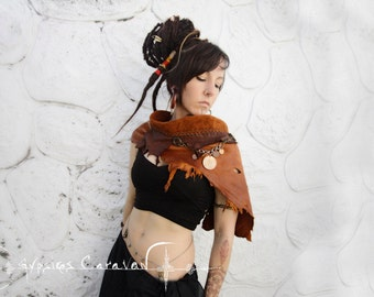 Winds of Change     Handmade deer leather brown shawl neck crowl winter clothing