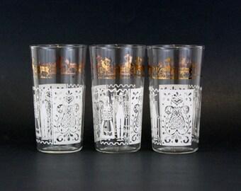Vintage Penn Dutch Glasses with White & Gold Farm Scenes, Set of 3 (E6083)