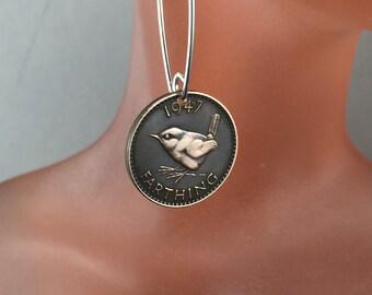 Wren Earrings . Bird Coin Earrings .  England Earrings . Farthing Earrings . UK English . Bird Jewelry  No.00824
