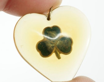 Four Leaf Clover Heart Pendant. Lucky Charm Lucite  Shamrock   No.00695