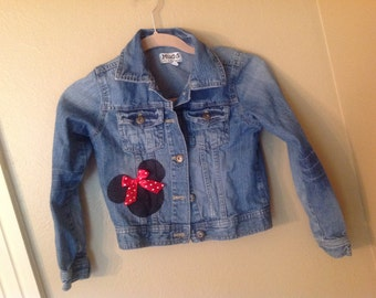 Minnie Mouse -size 7/8 only  upcycled denim jacket - Disney themed - ready to ship -