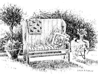 """Limited Edition Print of my Pen and Ink drawing of a  """"Country Bench"""""""
