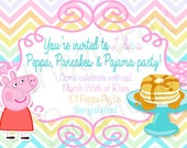 Peppa Pig inspired birthday invitation l Peppa, Pajama & Pancake party l Polka Dot l 5x7 I Instant Download I Print at home