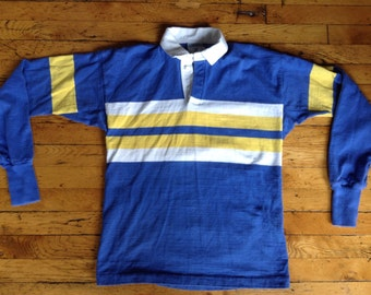 Vintage Land's End USA made cooton rugby jersey shirt large