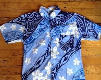 Vintage Hawaiian floral tribal button up shirt
