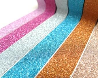FREE SHIPPING - Glitter Washi Tape - Glitter - Pink Washi Tape - Gold Washi Tape - Blue Washi Tape Set of 6