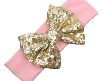 Gold sequins hairbow headband Pink Sparkly Bow Hair fabric knit stretch girls baby toddler party birthday photo shoot New