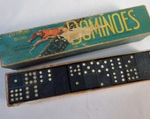Greyhound Brand Dominoes Vintage Set Made in England J W Spear Domino Game 55 Tiles