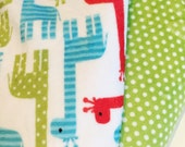 Personalized Stroller Blanket Double Sided Minky Cuddle - Giraffes in Blue Green and Red with Green with White Polka Dots