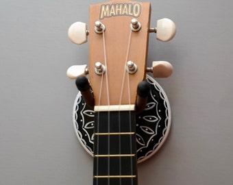 Lovely Black & White Instrument Wall Hanger Hook for Ukulele, Fiddle, Mandolin, Violin or Guitar - Ready to Ship