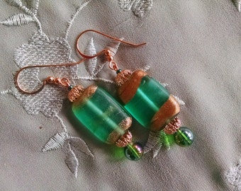 green copper earrings, hand painted lampwork glass teal green and copper dangle earrings