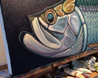 Tarpon original oil by Carin Vaughn