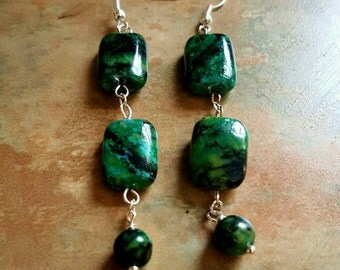Beautiful Chrysacolla Dangle Earrings